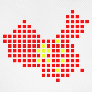 Wit China flag pixel map Accessoires - Baseballcap