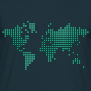 Navy earth world pixel map Men's Longsleeves - Men's T-Shirt