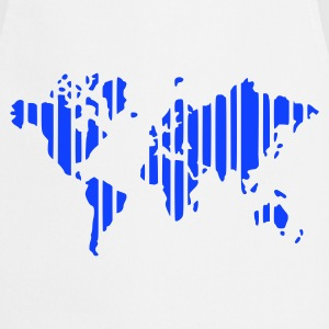 Blanco Earth world map in stripes camiseta - Delantal de cocina