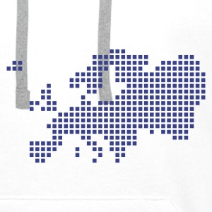 White Europe pixel map T-Shirts - Men's Premium Hoodie