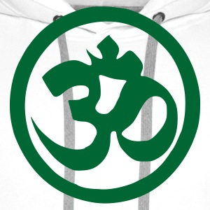 White Om Sign Symbol T-Shirts - Men's Premium Hoodie