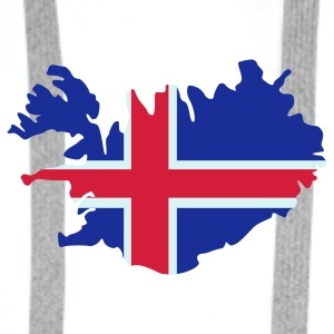 White Iceland Island Flag map Buttons - Men's Premium Hoodie