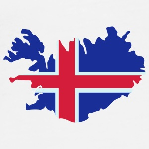 White Iceland Island Flag map Buttons - Men's Premium T-Shirt