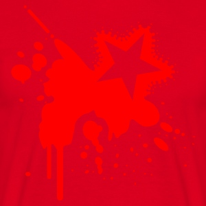 Red Grunge Splat With Star Jumpers - Men's T-Shirt
