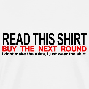 Weiß/navy Read this shirt - buy the next round Männer Langarm - Männer Premium T-Shirt