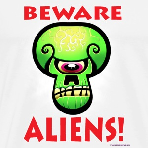 White Beware Aliens! Buttons - Men's Premium T-Shirt