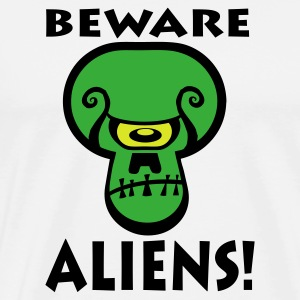 White Beware Aliens! Mugs  - Men's Premium T-Shirt