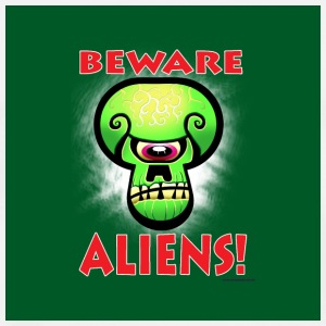 White Beware Aliens Buttons - Men's Premium T-Shirt