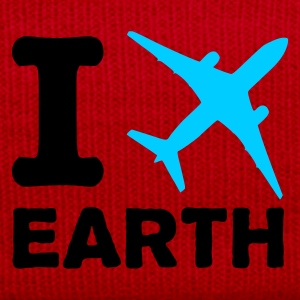 Red/white I fly earth - world - planet Bags  - Winter Hat
