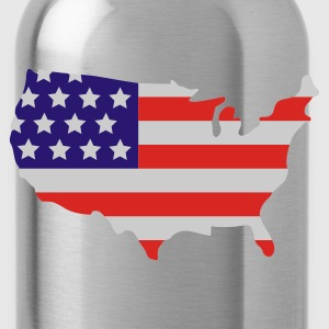 Black Stars and Stripes of USA, United States of America  Umbrellas - Water Bottle