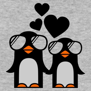 Grau meliert penguins fallen in love Pullover - Männer Slim Fit T-Shirt