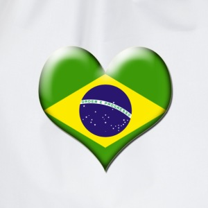 Brazil Heart Flag - Drawstring Bag