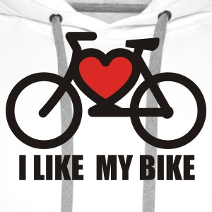 Blanc I like my bike Tee shirts - Sweat-shirt à capuche Premium pour hommes
