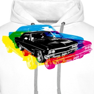 Wit Muscle Car - Retro - CMYK T-shirts - Mannen Premium hoodie