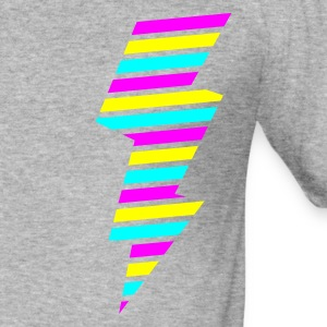Grau meliert tri color flash blitz electro power Pullover - Männer Slim Fit T-Shirt