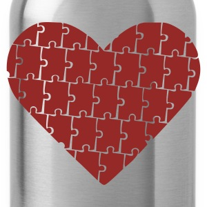 Brown Puzzle - Heart - Love Jumpers - Water Bottle