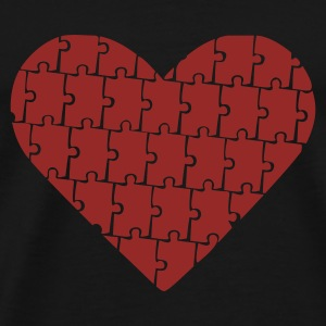 Black Puzzle - Heart - Love Jumpers  - Men's Premium T-Shirt