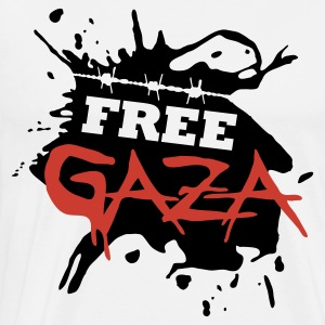 White/red Free Gaza Men's Long sleeves - Men's Premium T-Shirt