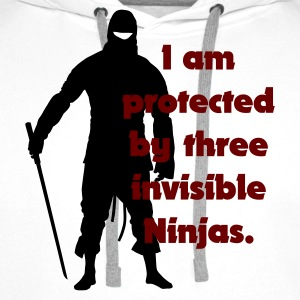 Blanc I am protected by three invisible ninjas T-shirts - Sweat-shirt à capuche Premium pour hommes