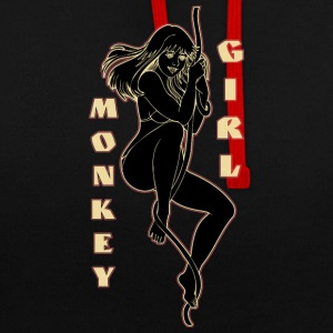 monkey girl black - Contrast Colour Hoodie
