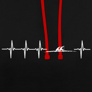 I love rowing (rowing heartbeat) - Contrast Colour Hoodie