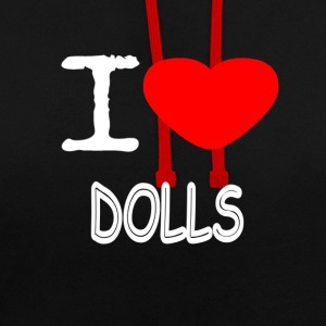 I LOVE DOLLS - Contrast Colour Hoodie