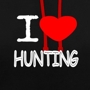 I LOVE HUNTING - Contrast Colour Hoodie