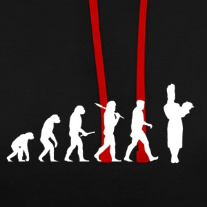 Evolution cuisine! Patron! Faire cuire! Faire cuire! - Sweat-shirt contraste