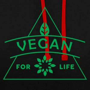VEGAN FOR LIFE - Contrast Colour Hoodie