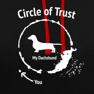 Funny Dachshund Shirt - Circle of Trust - Contrast Colour Hoodie