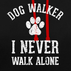 Dog walking funny shirt - Contrast Colour Hoodie