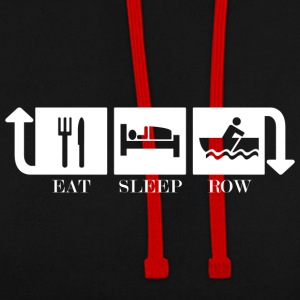 Eat Sleep Row Gjenta - Kontrast-hettegenser