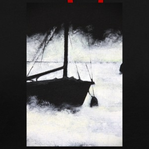 boat lake mist mystical painting acrylic sail fog - Contrast Colour Hoodie