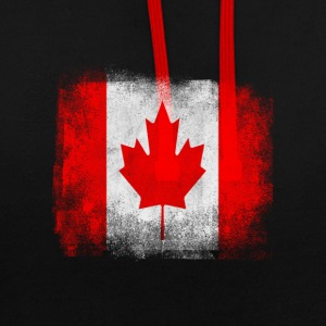 Canada Flag Proud Canadian Vintage Distressed - Contrast Colour Hoodie