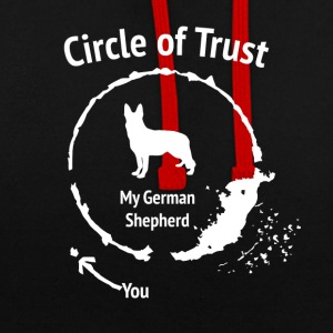 Funny German Shepherd Shirt - Circle of Trust - Contrast Colour Hoodie