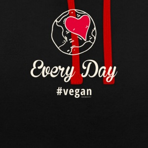 "Vegan T-Shirt - Heart Earth ""Every Day"" - Contrast Colour Hoodie"
