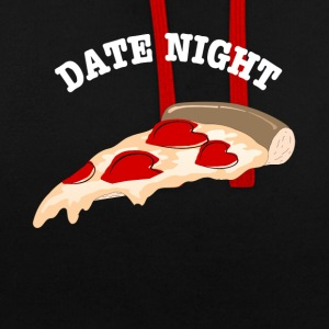 Date Night Pizza - Contrast Colour Hoodie