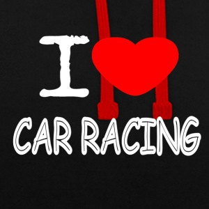 I LOVE CAR RACING - Contrast Colour Hoodie