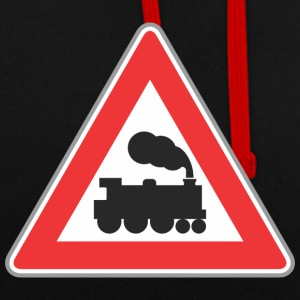 Road sign train with smoke - Contrast Colour Hoodie