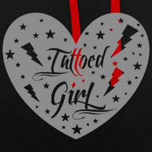 tattoed_girl_grey - Kontrast-Hoodie