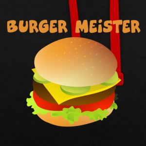 Burger-Meister Motiv Funny shirt for fast food - Contrast Colour Hoodie