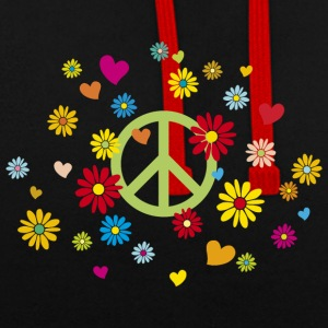 Peace Sign Flower Heart Flower Child Valentine - Contrast Colour Hoodie