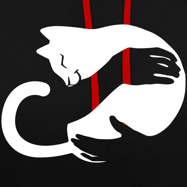 Vorschau: cat hug - Kontrast-Hoodie