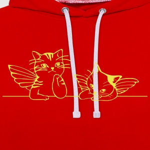 Chat avec des ailes d'ange - Sweat-shirt contraste