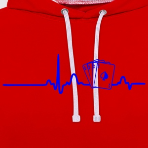 ECG HEART LINE POKER PLAYER blue - Contrast Colour Hoodie