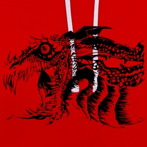 Black and White Dragon. - Contrast hoodie