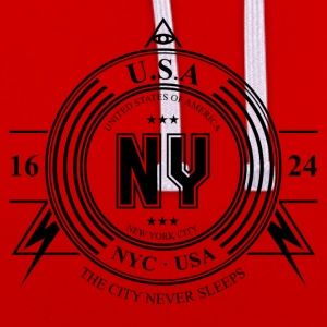 New York City Badge - Contrast Colour Hoodie