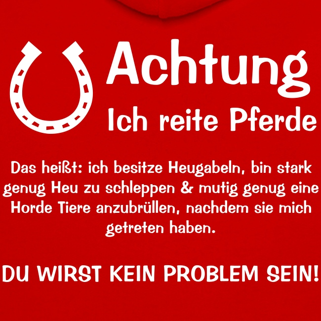 Vorschau: Achtung ich reite Pferde - Kontrast-Hoodie