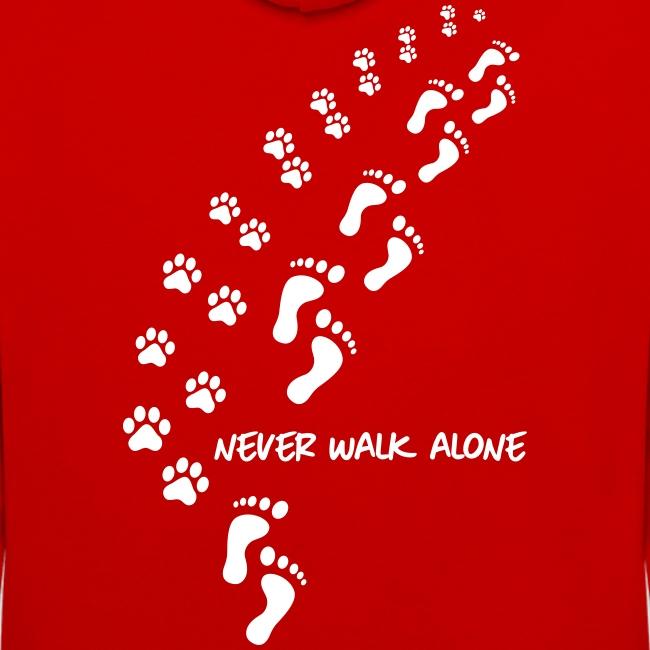 Vorschau: never walk alone dog - Kontrast-Hoodie