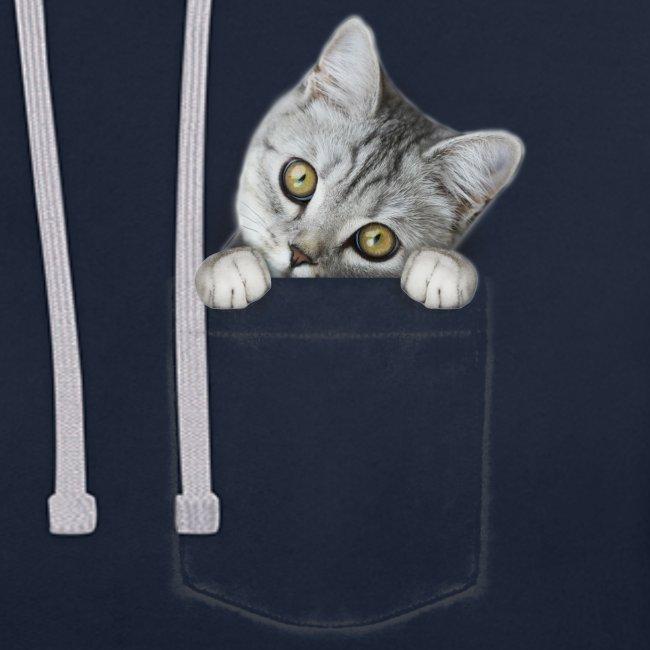 Vorschau: cat pocket - Kontrast-Hoodie